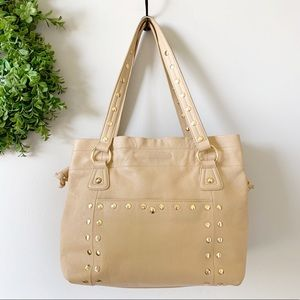 ( Twiggy ) Tan Leather Gold Studded Large Purse
